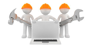 Free Builders With Laptop And Tools Royalty Free Stock Images - 21229109