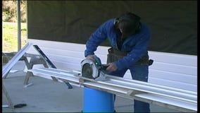 Builders at work stock footage