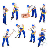 Builders or workers in various activities Stock Images