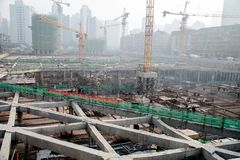 A busy construction site in wuhan city, china stock photography