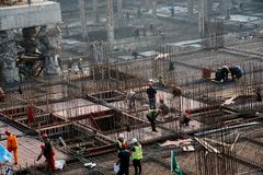 A busy construction site in wuhan city, china royalty free stock photography