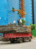 The builders are working in construction sity royalty free stock photos