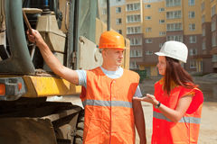 Builders works at building site Royalty Free Stock Image