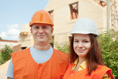 Builders works at construction site Stock Photography