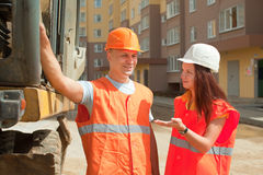 Builders works at construction site Stock Images