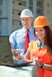 Builders works at construction site Royalty Free Stock Photography