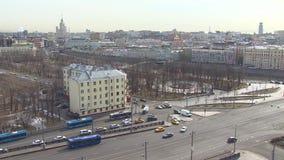 buildig wysoki Moscow panoramy widok Centrum miasta Dnia samochodowy ruch drogowy W górę punktu zbiory wideo
