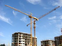 Building 02. Construction site with cranes working Stock Image