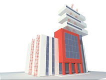 Building. Modern building. Constructivism. Qualitative design. 3D figure vector illustration