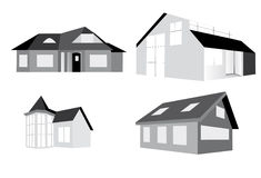 Building. Group of buildings иполненных in black-and-white colour Stock Image