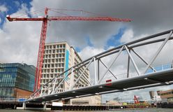 Building. Mounting of new buildings in Amsterdam port Stock Photos
