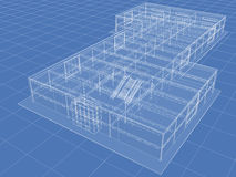 Building. Abstract architectural 3D drawing of industrial building on blue Stock Photo