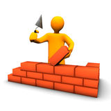Building. 3d illustration looks a orange humanoid person at the building Stock Image