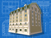 Building. 3D isometric view of residential house on architect's drawing Royalty Free Stock Image