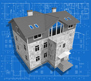 Building. 3D isometric view of residential house on architect drawing Stock Photos