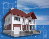 Building. 3D isometric view of the residential house on architect drawing Royalty Free Stock Photography