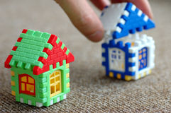 Building. And designing of the house from windows of doors and a roof of bright colours stock photo