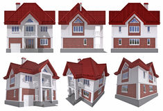 Building. Six views of the 3D residential house over white isolated with clipping path Royalty Free Stock Image