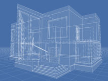Building. Abstract architectural 3D drawing of apartment house on blue Royalty Free Stock Photos