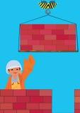 Building. Raster illustration, residential red bricks building building Stock Photos