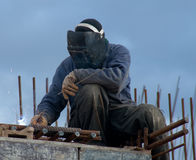 Building. Welder at a construction site Royalty Free Stock Images