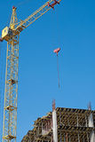 Building. Construction site. Lift crane royalty free stock photos