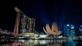 Marina Bay Sand hotel and the Helix bridge. Taken in Singapore with the Marina Bays Sands hotel, The Art Science Museum, and the Helix Bridge in the photo Stock Image