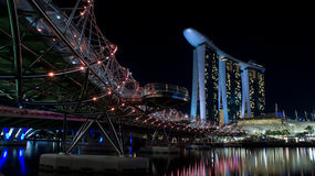 Marina Bay Sand hotel and the Helix bridge. Taken in Singapore with the Marina Bays Sands hotel, The Art Science Museum, and the Helix Bridge in the photo Stock Photography