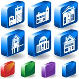 Building 3D Buttons. Set of 6 different style of buildings in 3D buttons Stock Photo