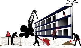 Building. Construction objects - workers vector silhouettes Royalty Free Stock Photography