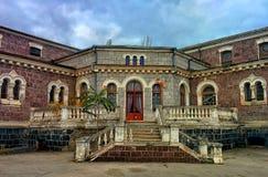 Building of abandoned hospital. Porch of nineteenth century hospital Royalty Free Stock Photography