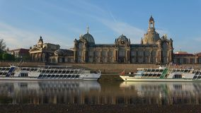 The building of the Academy of arts on the waterfront of the Elbe in April. Dresden, Germany