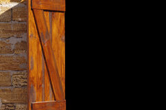 Building of the accomodation, background. Wooden colored doors by the closeup, the building of the accomodation Royalty Free Stock Photo