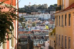 Building achitecture in Old Town of Lisbon. Colorful building achitecture in Old Town of Lisbon, Portugal stock photo