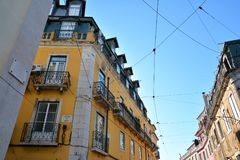 Building achitecture in Old Town of Lisbon. Portugal stock photography