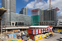 Building activities at the new central station of The Hague, The Netherlands Royalty Free Stock Images