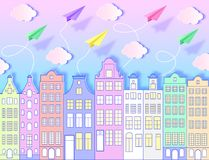 Building, airplanes,sky and clouds. Building, paper airplanes, sky and clouds. Vector illustration. Paper art style royalty free illustration