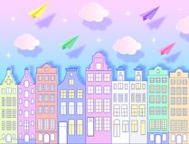 Building, airplanes,sky and clouds. Building, paper airplanes, sky and clouds. Vector illustration. Paper art style vector illustration