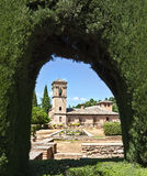 Building of Alhambra. Complex in the General Life Garden of Alhambra Stock Photography