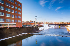 Building along Codorus Creek in downtown York, Pennsylvania. Royalty Free Stock Image
