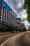 Building along a divided street in Boston , Massachusetts. Stock Photos