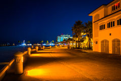 Building along a path at night in Clearwater Beach, Florida. Stock Photo