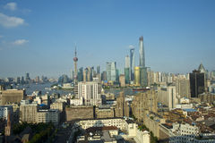 Building along shanghaihuangpu river:lujiazui and shanghai bund Stock Image