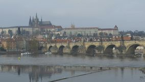 Building Along Vltava River stock footage
