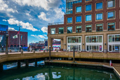 Building along the waterfront at Rowes Wharf in Boston Stock Photography