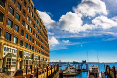 Building along the waterfront in Rowes Wharf, Boston Royalty Free Stock Photo