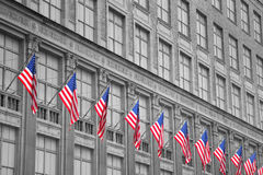 Building with American Flags Royalty Free Stock Photos