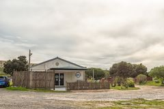 Building of the angling club in Melkbosstrand. MELKBOSSTRAND, SOUTH AFRICA, AUGUST 19, 2018: Building of the angling club in Melkbosstrand in the Western Cape stock photography