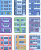 Building apartment home facade icon set Royalty Free Stock Images