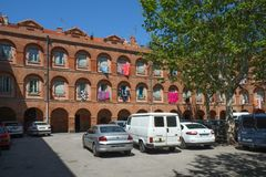 Building in Arab quarter in the center of Perpignan, France royalty free stock images